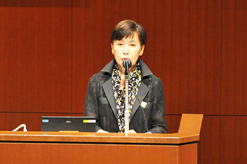 President Yuko Tanaka extending greetings and words of encouragement to the contestants