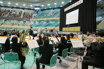 The brass band affiliated with the University's cheer squad played at the opening of the ceremony.