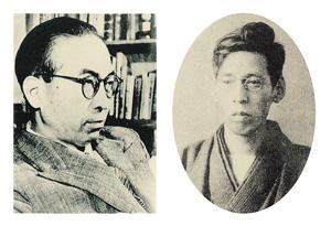 近衛秀麿(左)、佐藤春夫(右)