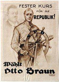 大統領選に出馬したSPDのオットー・ブラウンは、急死した前大統領・エーベルトの影を背負い、その後継者であることをアピールした
