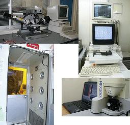 膜厚測定器、簡易クリーンルーム、段差測定器、原子間力顕微鏡、顕微レーザーラマン兼PL測定装置、赤外線分光装置(FTIR)などがあります。