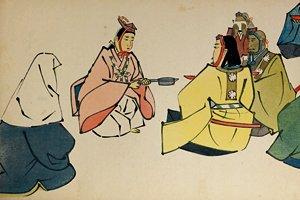 能「摂待(せったい)」を絵画化した紙芝居「接待」。裏面には各場面の説明やセリフ、謡曲の一節などが記される。1942(昭和17)年作