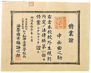 中西由之助は校外生修業後に正課通学生となり、1902(明治35)年に卒業、同年に弁護士試験に合格し、京都で弁護士を開業、晩年に絲屋(いとや)姓に改姓した。氏が和仏法律学校時代に残した講義の筆記録は、その一部が絲屋家から本学に寄贈され、当時の教育の実態を伝える貴重な資料となっている