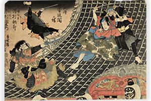 香蝶楼国貞画『八犬伝芳流閣ノ場』。右が信乃、左は長十手で応戦する現八