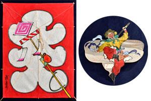 左:「弾き猿」を描いた江戸凧 右:中国 の孫悟空凧
